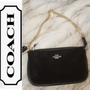 Coach Black Calf Hair Golden Chain Large Wristlet